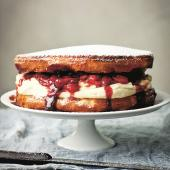 Victoria sponge with limoncello and balsamic strawberries