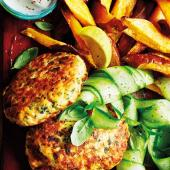 Salmon burgers with sweet potato wedges