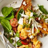 Scrambled eggs with feta and spinach