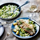 Trout, broad beans & courgettes in a wine & cream sauce