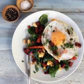 Duck egg and chorizo brunch salad