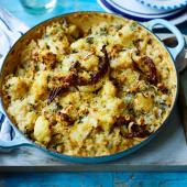 Baked cauliflower, sage and walnut risotto