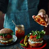 Spicy Indian lamb burger