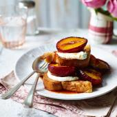 Roasted plums with honeyed ricotta