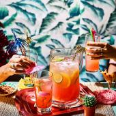 Pink rum punch