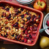 Apple and blackberry jumblenut crumble