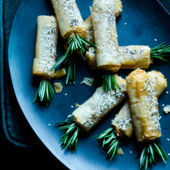 Cheesy filo broomsticks