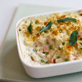 Cheat's macaroni cheese with ham, peas and Stilton