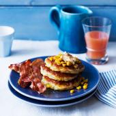 Sweetcorn ricotta pancakes with sweet crispy bacon