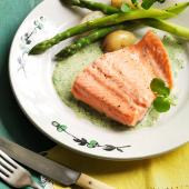 Poached trout with watercress sauce
