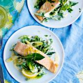 Bay-steamed salmon with tarragon veg