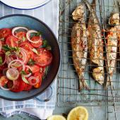 Barbecued piri piri sardines with tomato and onion salad