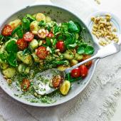 Pan-fried gnocchi with watercress-mint pesto