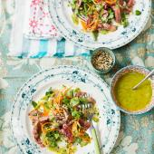 Seared beef salad with carrot noodles and tahini dressing