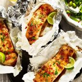 Soy and ginger salmon parcels with sesame sugar snap salad