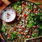 Chopped salad with sumac yogurt dressing