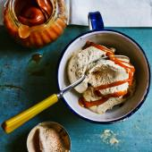 Spiced Guinness ice cream with salted caramel drizzle
