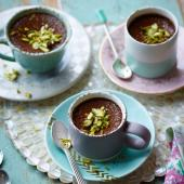 Chocolate, sour cherry and pistachio pots
