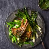 Barbecued chermoula lamb chops with herb sauce
