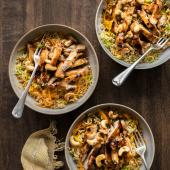 Hoisin chicken with stir-fried rice
