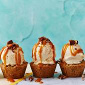 Salted caramel ice cream pecan cookie cups