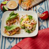 Satay noodle lettuce wraps with prawns and mango