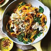 Butternut noodles with spinach and ricotta