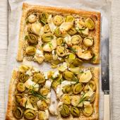 Leek and goats' cheese tart