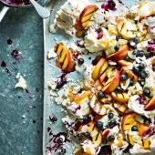 Blueberry, peach and coconut pavlova smash