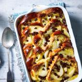 Pear and chocolate brioche pudding