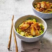Teriyaki cod and Brussels sprout noodles