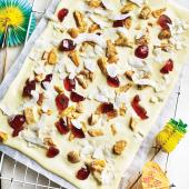 Pina colada white chocolate bark
