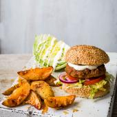 Smoky pork burger and wedges