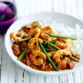 Tamarind prawns with cinnamon rice
