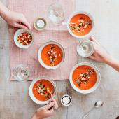 Gazpacho with apple salsa and smoky seeds