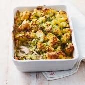 Chicken and leek pie with crispy potato topping