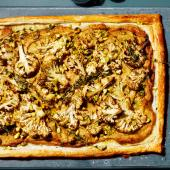 Spiced cauliflower tart with thyme and pistachios