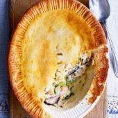 Hot-water crust chicken, leek and shiitake pie