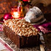 Butterscotch date loaf cake with caramel icing
