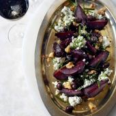 Baked beets with goats' cheese, toasted walnuts and olives