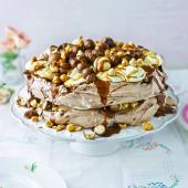 Very chocolatey salted caramel and hazelnut pavlova
