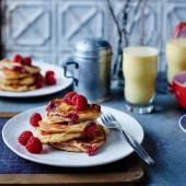 Ricotta and raspberry pancakes