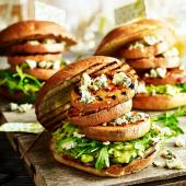 Triple sweet potato and Stilton 'burgers' with avocado mash