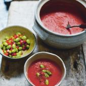 Sichuan-roasted red pepper soup with five-spice edamame relish
