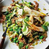 Cumin chicken with giant couscous, courgette, peas and mint