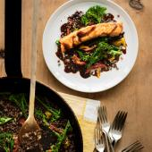 Grilled salmon and Puy lentil salad