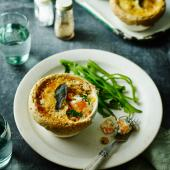 Butternut squash, Stilton and kale pies with walnut pastry
