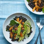 Butternut squash and black rice bowl