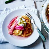 Ricotta pancakes with roasted rhubarb and passion fruit