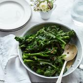 Purple sprouting broccoli with anchovy butter